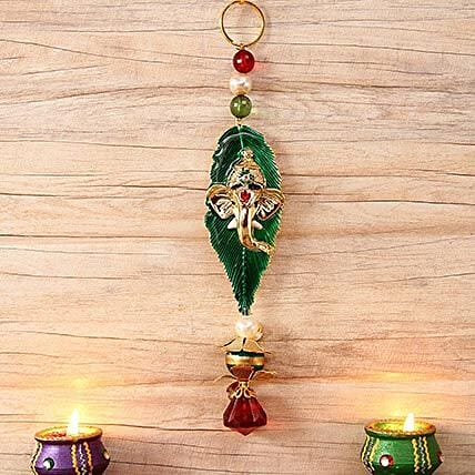 Leaf Shaped Ganesha Metallic Car Hanging