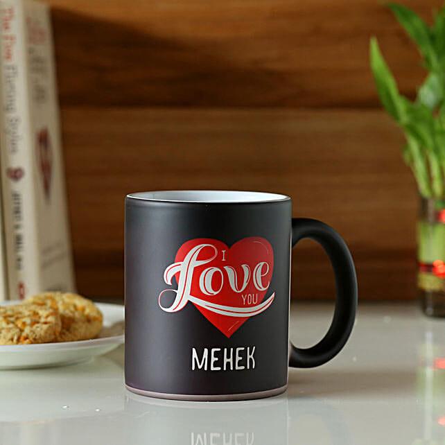 heart printed customised mug for her