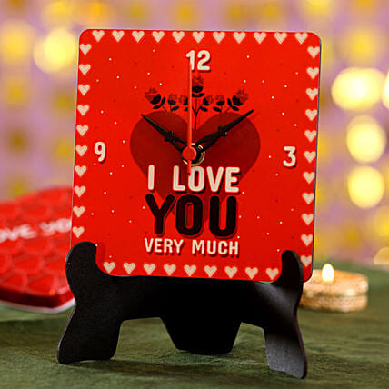printed message table clock for valentine day