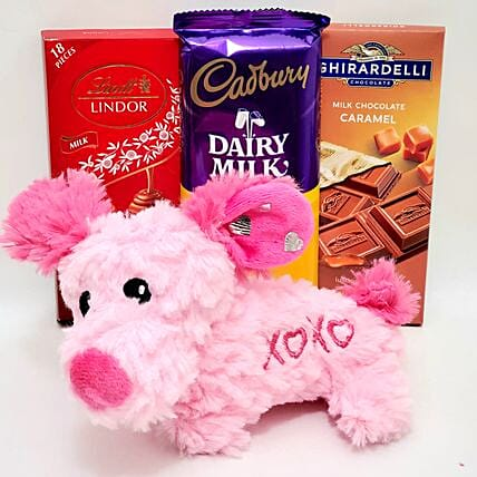 Lovely Plush Toy And Chocolates Gift Set:Send Soft Toys to USA