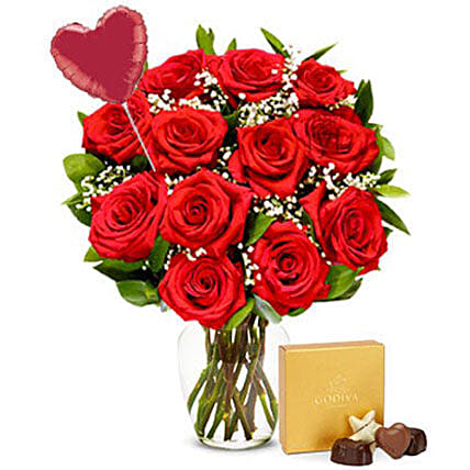 Luxury 12 Red Roses Bouquet And Chocolate Combo:Valentine's Day Gift Delivery in USA