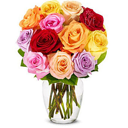 Luxury One Dozen Rainbow Roses Bouquet