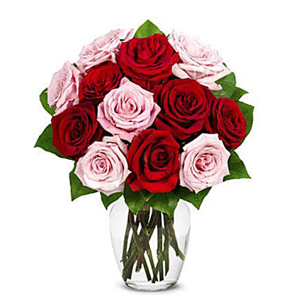 Luxury One Dozen Red And Pink Roses Bouquet