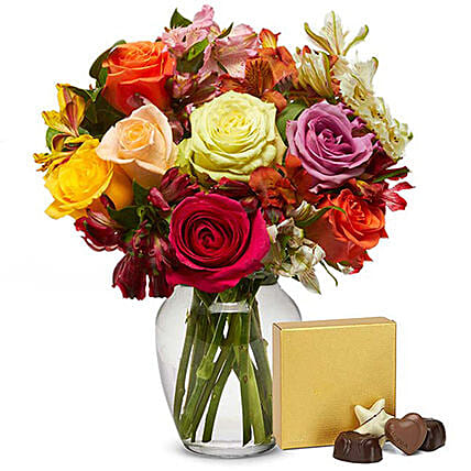 Mixed Roses Bunch And Chocolates:Send Flowers USA