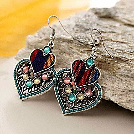 Multicolor Double Heart Earring