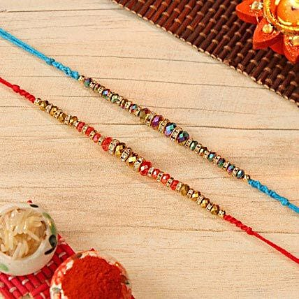 Multicolored Crystal Beaded Rakhi Set Of 2
