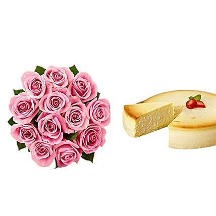 NY Cheescake with Pink Roses:Flower Delivery in Atlanta