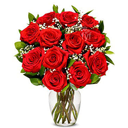 One Dozen Red Roses Bouquet:Send Anniversary Flowers to USA