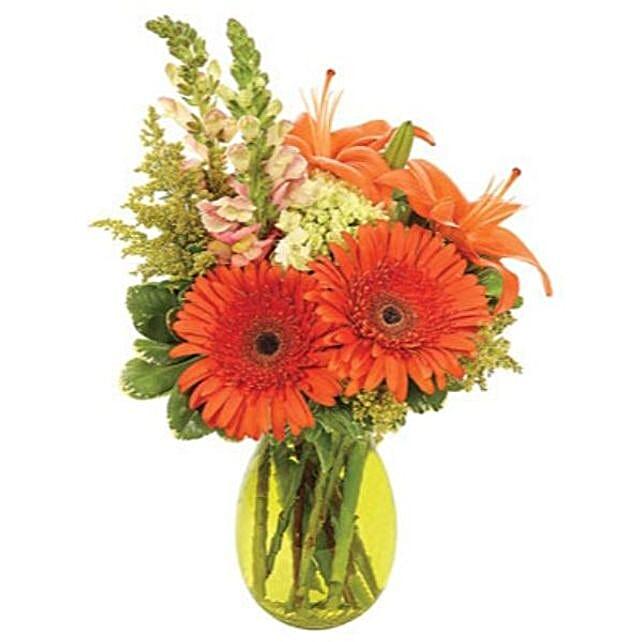 Orange Garden Bunch:Send Mixed Flowers to USA