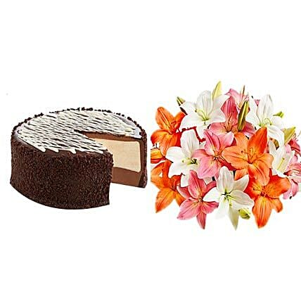 Black&White Cake with Colorful Lilies:Same Day Anniversary Flowers for USA