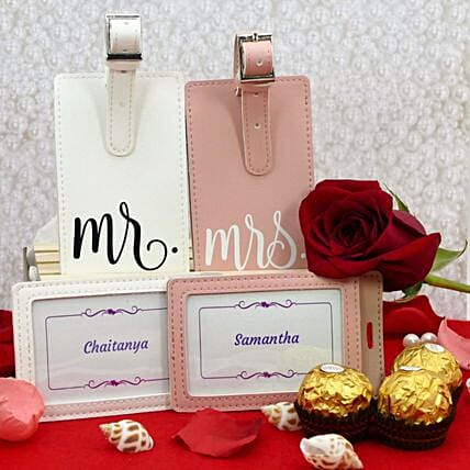 Personalised Couple Luggage Tags And Chocolates:Send Flowers USA