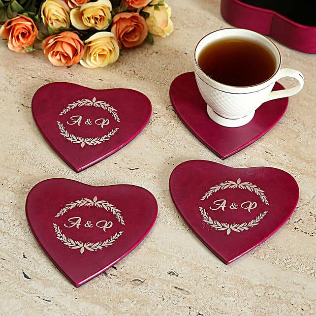 Personalised Heart Coaster Set of 4