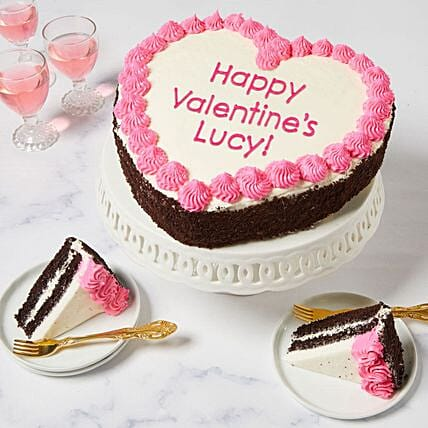 Personalised Heart Shaped Chocolate Cake