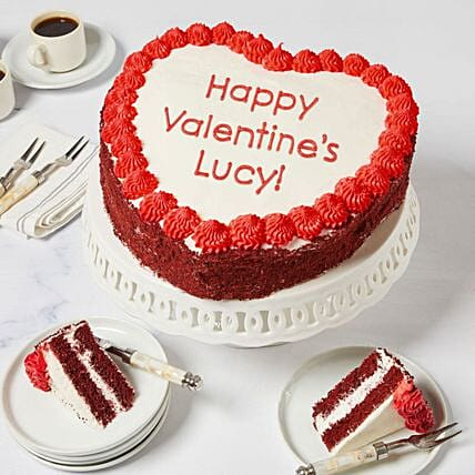 Personalised Heart Shaped Red Velvet Cake:Personalised Gifts to USA from India