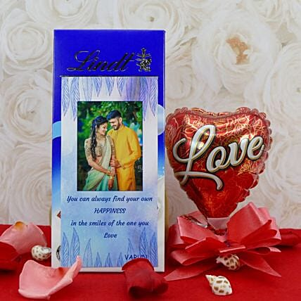Personalised Lindt Chocolate Bar With Balloon