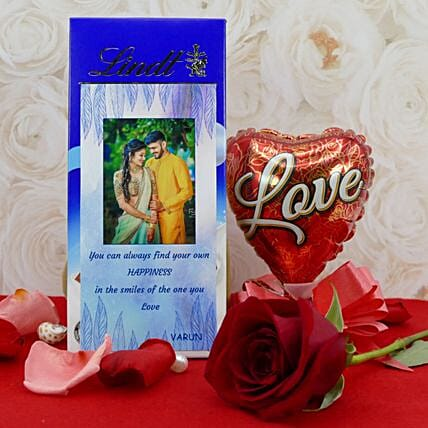 Personalised Lindt Chocolate With Balloon And Rose