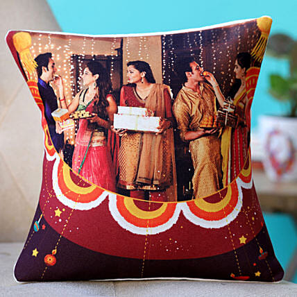happy diwali with photo printed cushion