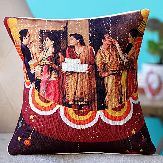 happy diwali with photo printed cushion:Personalised Cushions to USA