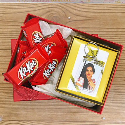 Photo Keychain With Kit Kat:Gifts for Anniversary in USA