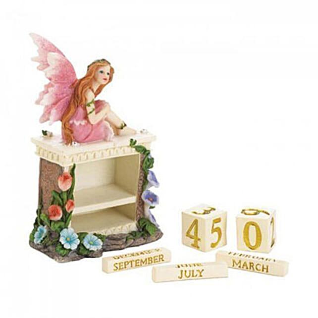 Pink Fairy Block Calendar Figurine