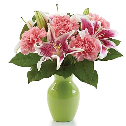 Pink Lilies And Carnations Vase Arrangement:Send Mother's Day Gift to USA