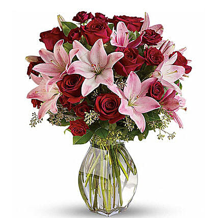 Pink Lily And Red Rose Bunch
