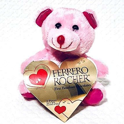 Pink Teddy With Chocolates