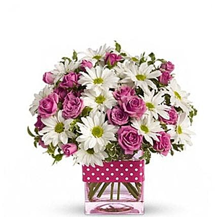 Pink White Flower Theme Vase