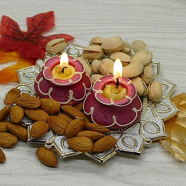 Pooja Thali And Terracotta Diya Combo