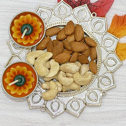 Pooja Thali With Dry Fruit And Flower Diyas