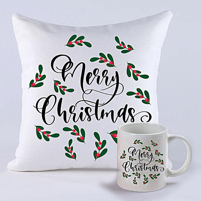 Pretty Merry Christmas Cushion And Mug