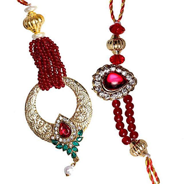 Red Kundan Bhaiya Bhabhi ki Rakhi