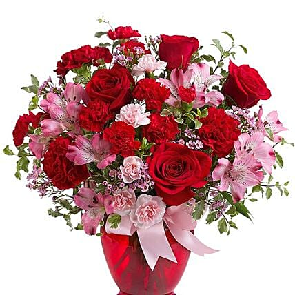 Red Pink Love Flower Arrangement:Gifts to USA Same Day Delivery