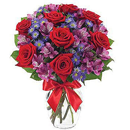 Red Roses And Alstroemeria Flower Bouquet:Valentines Day Gifts For Him in USA