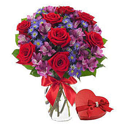 Red Roses Flower Bouquet And Chocolates:Rose Day Gift Delivery in USA