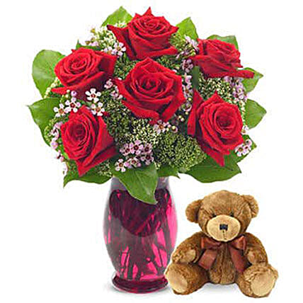 Rose Garden Bouquet With Teddy Bear