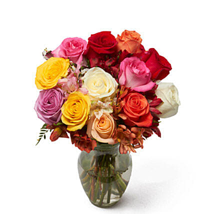 Roses And Alstros Bouquet:Send Miss You Flowers to USA
