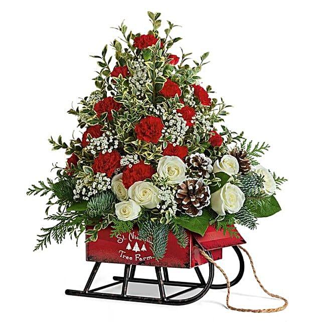Santas Sleigh Christmas Floral Arrangement