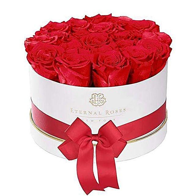Scarlet Eternal Roses In White Gift Box