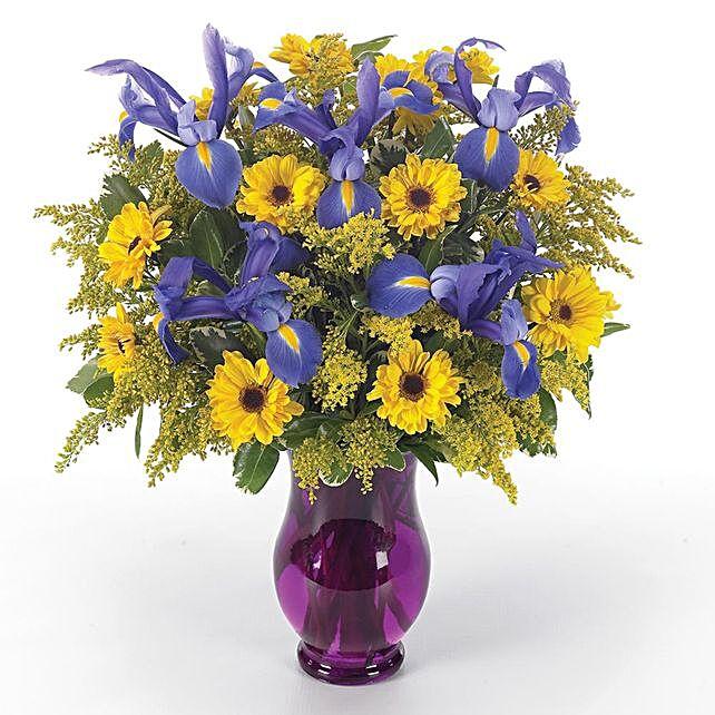 Serene Assorted Flowers Purple Vase Arrangement