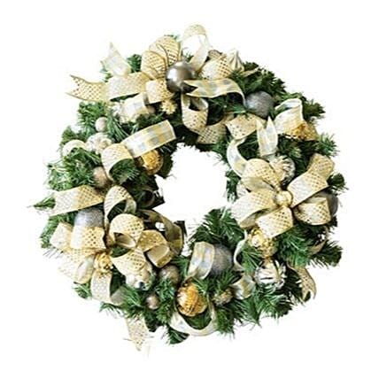 Silver And Golden Christmas Floral Wreath