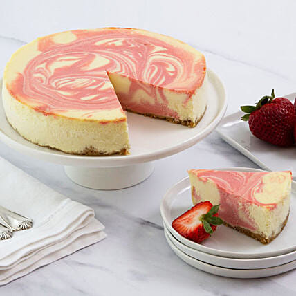 Strawberry Swirl Cheesecake With Personalised Greeting Card