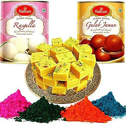 Sweet Hamper with Holi Gulal