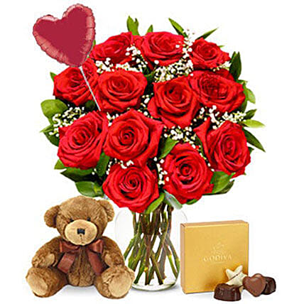 Ultimate Red Roses Bouquet Surprise Combo:Valentine's Day Gift Delivery in Cincinnati