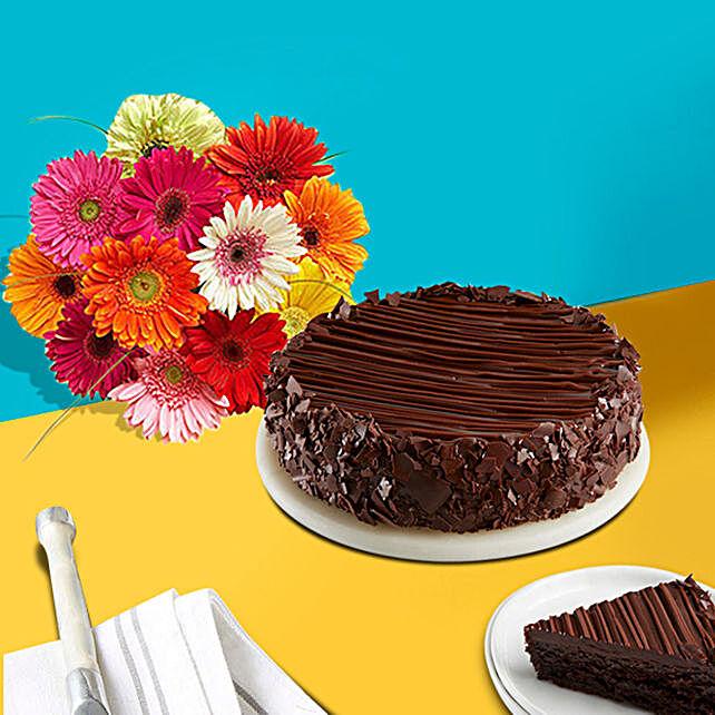 Happy Birthday Cake and Gerbera Daisies