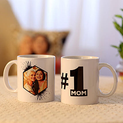 Picture Mug and Number 1 Mom Mug Combo:Personalised Gifts to USA from India