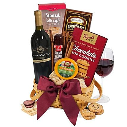 The Classy Basket Of Red Wine And Snacks:Send Wine Hampers to USA