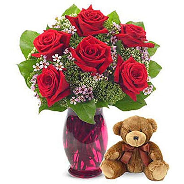 Rose Garden Bouquet With Teddy Bear