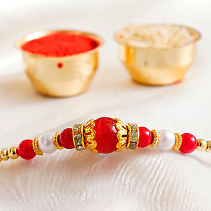 Red Pearl Beaded Rakhi:All Gifts