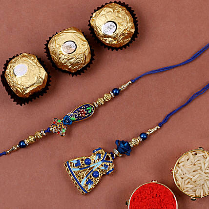 Blue Meenakari Bhaiya Bhabhi Rakhi And 3 Pcs Ferrero Rocher